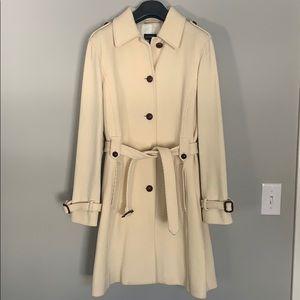 Lands End cream lightweight wool trench coat. EUC